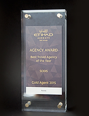 "Награда от авиакомпании ETIHAD airways ""Best Travel Agency of the Year"", 2015 г."